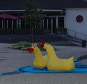 Aachenstricktschoen 2 Enten im Elisenbrunnen